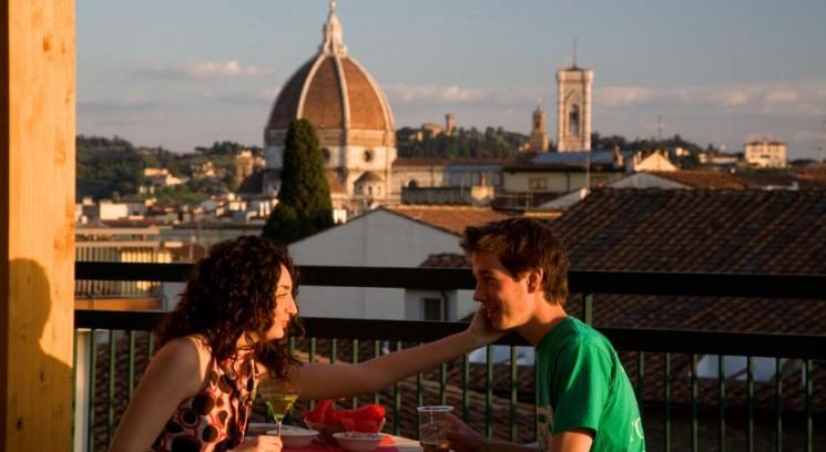 terraço do Hostel Plus Firenze com vista panorâmica