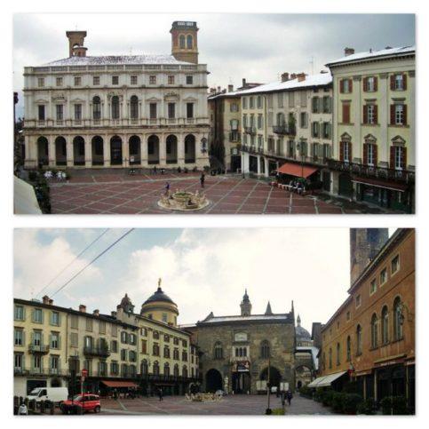 Piazza Vecchia na Cidade Alta, em Begamo