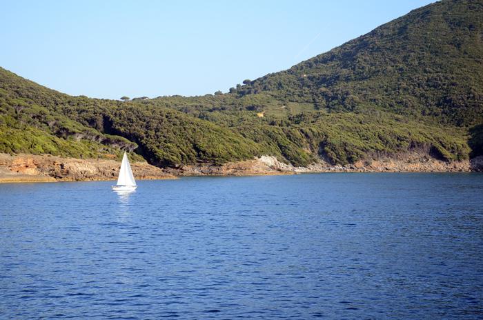 Vista da balsa em direção à Elba