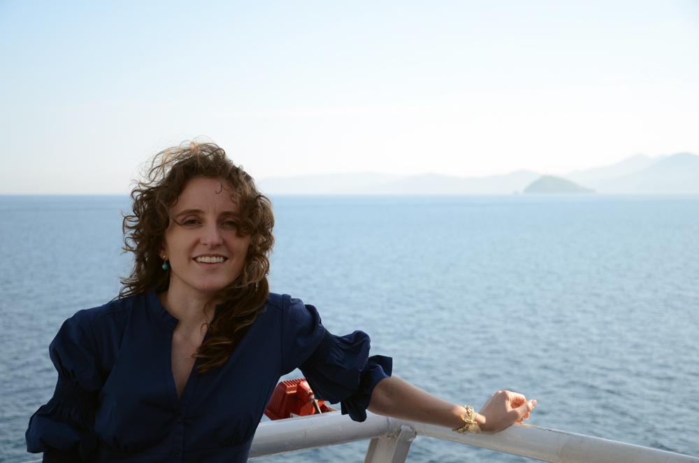 Eu na balsa para Elba