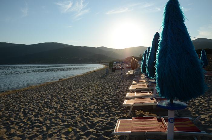 Pôr do sol na praia de Lacona, ilha de Elba