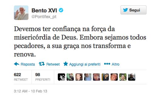 O último twitter do Papa Bento 16 antes de anunciar sua demissão