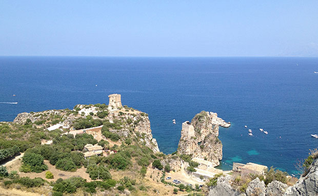 Vista panorâmica de Scopello, na Sicília