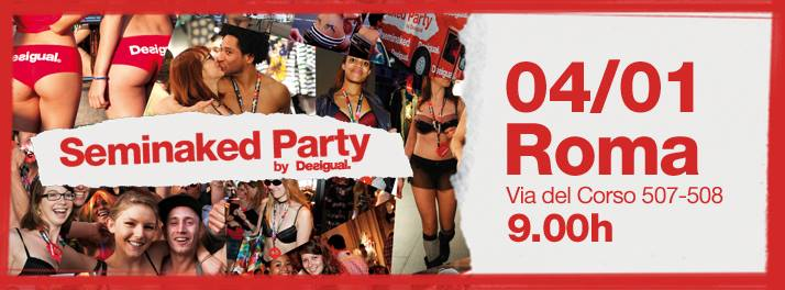 "O convite da Desigual para sua ""Seminaked party"" compartilhado nas redes sociais"