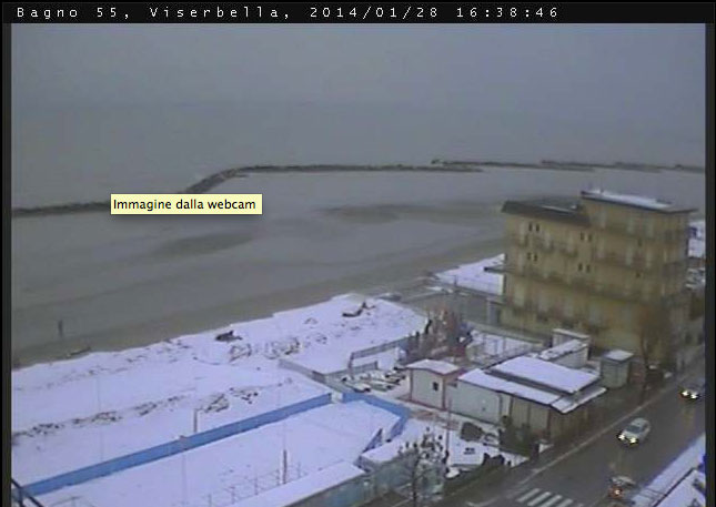 Neve nas praias de Rimini (janeiro/2014)