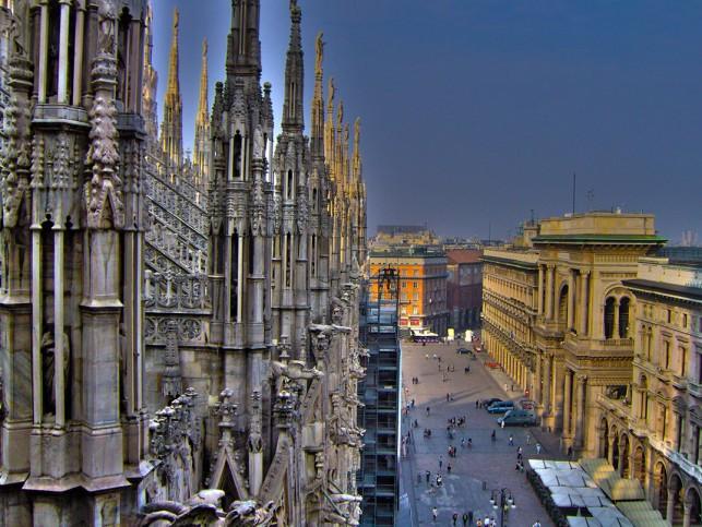 Vista panorâmica do topo da Catedral de Milão