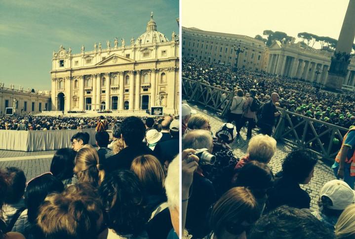 Esperando a chegada do Papa no dia 02/04/2014*