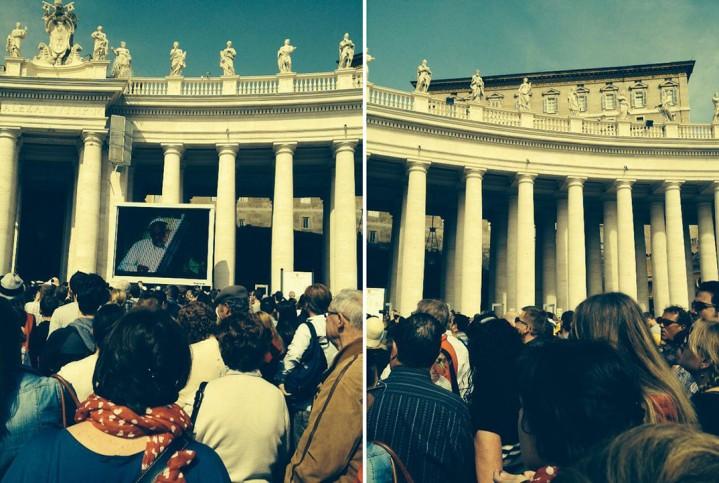 O Papa Francisco no telão