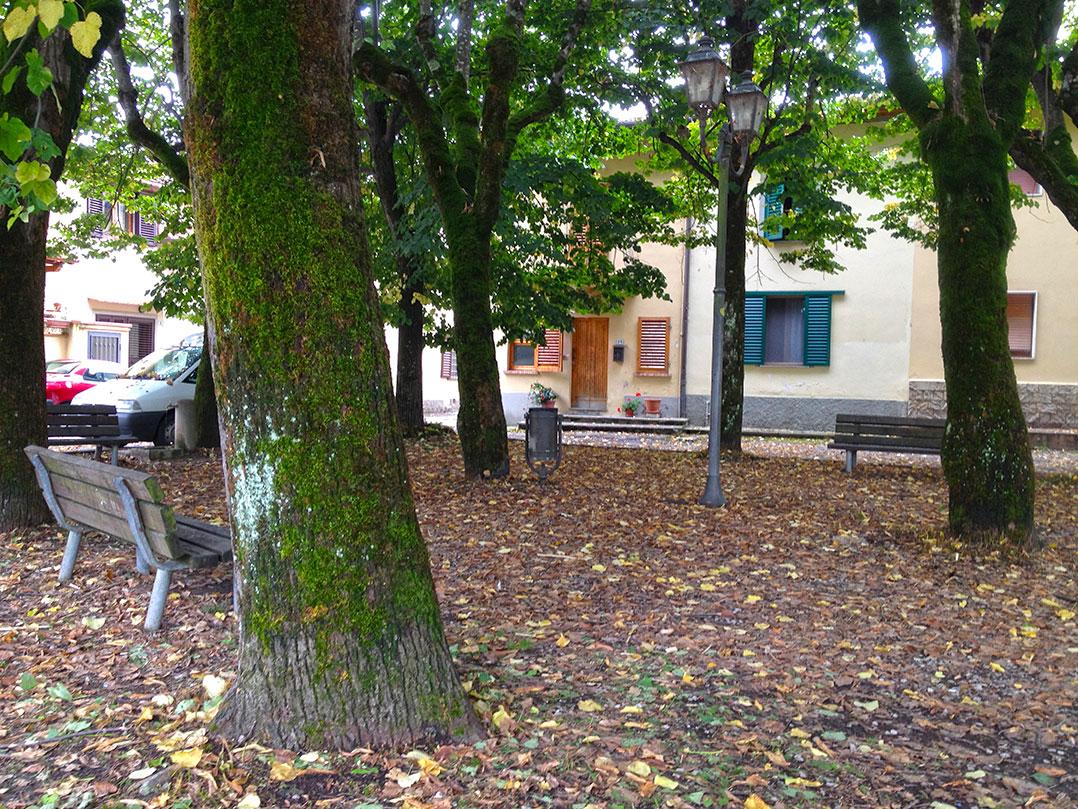 A praça com as primeiras folhas caídas nesses últimos dias de verão de 2013