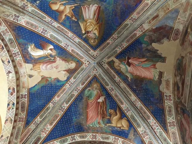 O teto do Oratorio di Santa Caterina, no Chianti