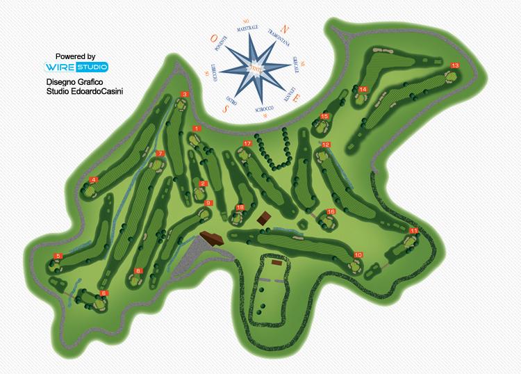 Detalhe do campo de golf Punta Ala na Toscana