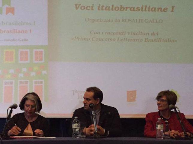 Rosalie Gallo (à esquerda), Renato Sartori (presidente do COMITES-SP) e Eliana Magrini Fochi, da Rebra, na apresentação de ontem